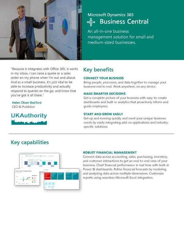 Microsoft Dynamics 365 Business Central capabilities doc